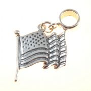 US Flag 3D Sterling Silver Dangle Charm / Carrier Bead